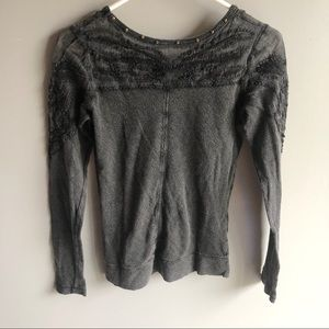 Free People Tops - 3/$20 Free People Grey Embroidered Thermal